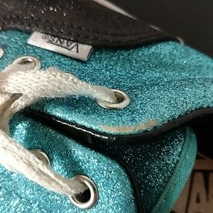 Vans Shoes - Black & Aqua Glitter Vans Size 6